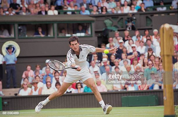 English tennis player Tim Henman pictured in action to lose against American tennis player Pete Sampras 63 46 36 46 in the semifinals of the Men's...