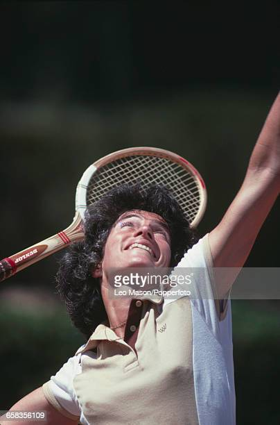 English tennis player Virginia Wade pictured in action competing for Great Britain to reach the quarterfinals of the 1979 Federation Cup tennis...