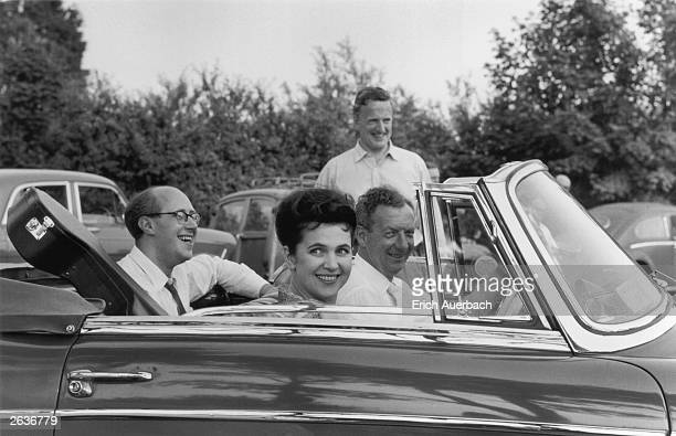 English tenor Sir Peter Pears with the English composer Benjamin Britten and Galina Vishnevskaya the wife of cellist and conductor Mstislav...