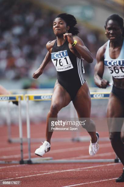 English track and field athlete Denise Lewis competes in the 100 metres hurdles discipline of the heptathlon event at the Amateur Athletics...