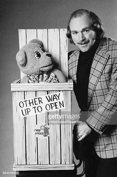 English ventriloquist and entertainer Roger De Courcey pictured with Nookie Bear in London on 4th February 1976