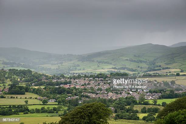 English village under a raincloud