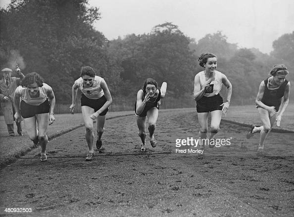English women athletes training in Battersea Park London 21st September 1937 Left to right Dorothy Saunders Kath Tiffen Ethel Raby and Dorothy Odam...