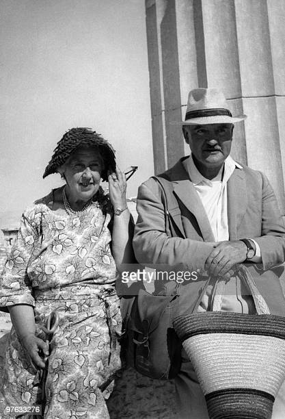 English writer Dame Agatha Christie and her husband Max E L Mallowan smile 30 August 1958 while visiting the Acropolis in Athens Agatha Christie born...
