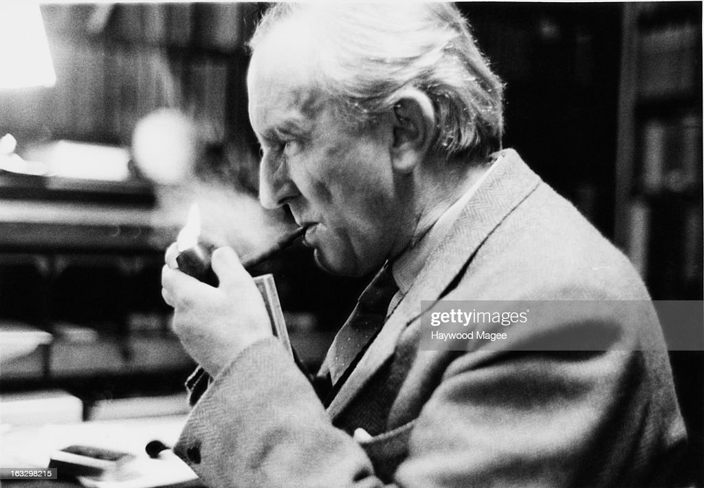English writer J. R. R. Tolkien (John Ronald Reuel Tolkien, 1892 - 1973) in his study at Merton College, Oxford, 2nd December 1955. He has been Merton Professor of English Language and Literature since 1945. Original Publication : Picture Post - 8464 - Professor J R R Tolkien - unpub.