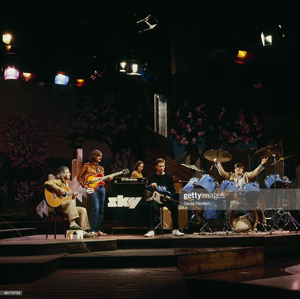 John Williams, Kevin Peek, Francis Monkman, Herbie Flowers and Tristan Fry of Sky perform on a tv show at BBC Television Centre in London, England in 1980.