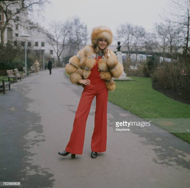 EnglishAustralian singer Olivia NewtonJohn wearing a fur hat and jacket outside the Savoy Hotel in London circa 1970