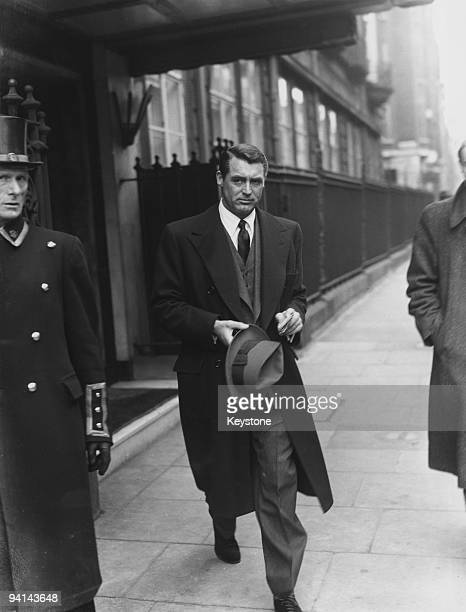 Englishborn actor Cary Grant leaves his London hotel 24th April 1946 He is in England on business and also to visit his mother in Bristol