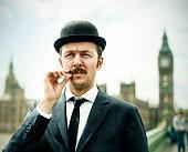 Englishman in London, with Bigben behind him