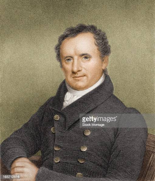 Engraved color portrait of American author James Fenimore Cooper early 19th century
