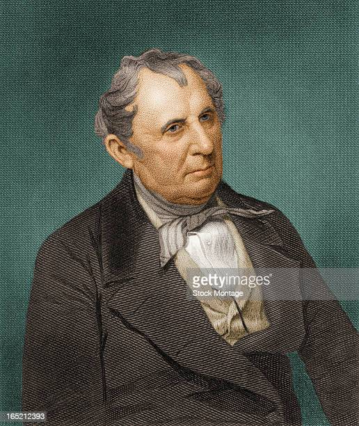 Engraved color portrait of American author James Fenimore Cooper early to mid 19th century