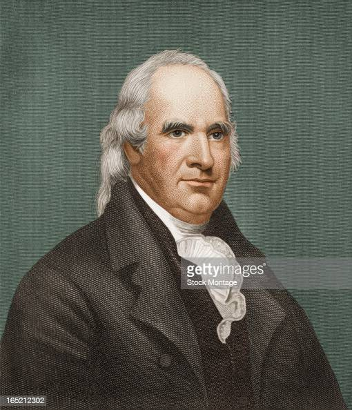Engraved color portrait of American soldier and politician General George Clinton late 18th or early 19th century Clinton served as a general in the...