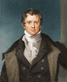 Engraved color portrait of English chemist and president of the Royal Society Sir Humphry Davy early 19th century