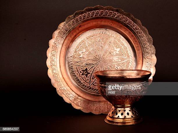 Engraved Copper Plate & Bowl of Kashmir