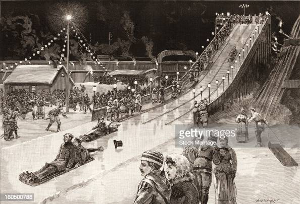 Engraved illustration depicts people as they ride toboggans on a manmade slide during a winter night at the Polo Grounds New York December 1886 At...