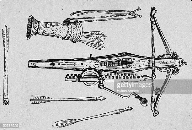 Engraved illustration of a medieval crossbow and a quiver with arrows