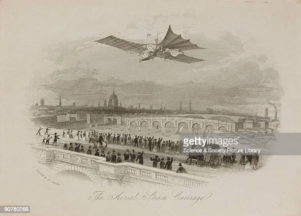 Engraved letterhead showing the flying machine designed by William Henson flying above a city watched by cheering crowds assembled on a bridge Henson...