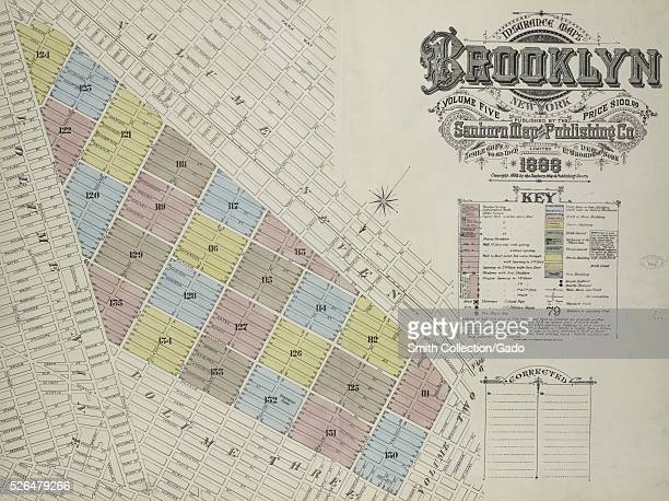 Engraved map image from an atlas with original caption reading 'Insurance Maps of the Brooklyn city of New York Volume Five Published by the Sanborn...