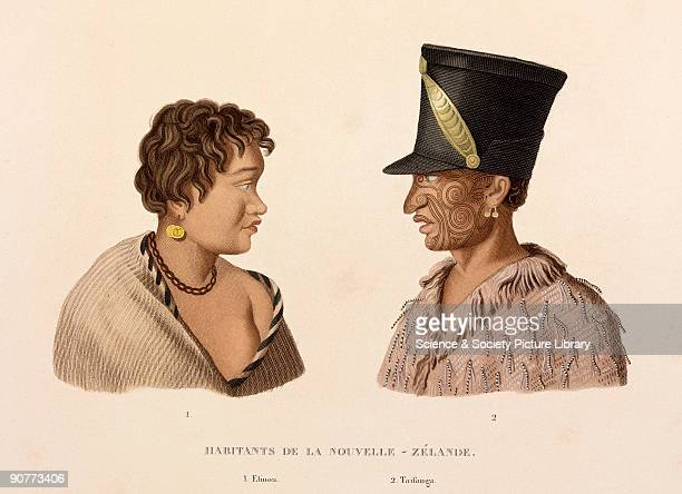 Engraved plate 46 from 'Voyage autour du monde' by Louis Isidore Duperrey Etinou on the left appears to be wearing a European coin as an earring The...