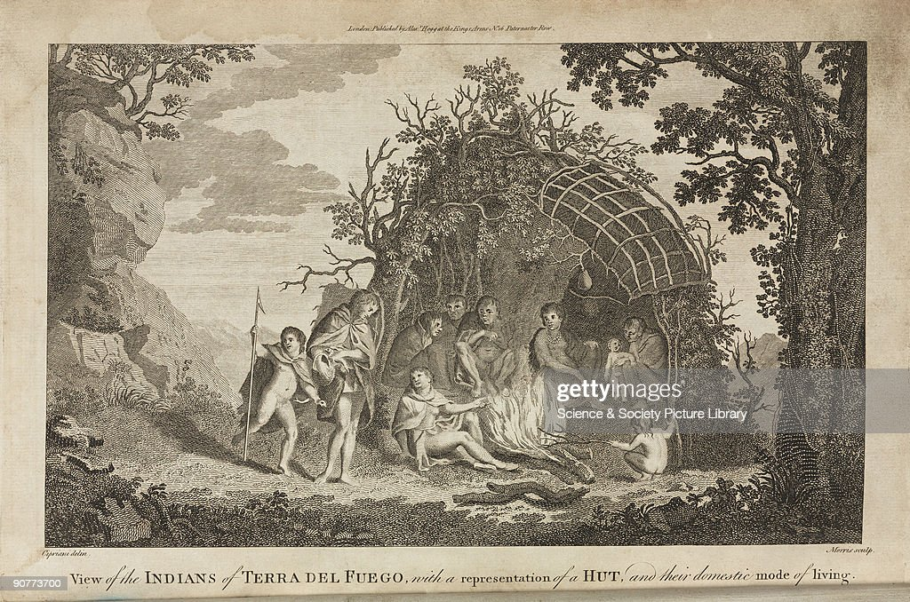 Engraved plate by Morris after Cipriani entitled �View of the Indians of Tierra Del Fuego with a representation of a Hut and their domestic mode of...