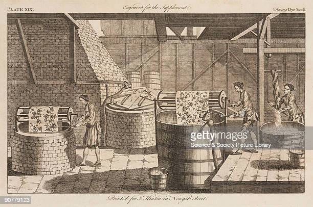 Engraved plate from the �New and Universal Dictionary of Arts and Sciences� by J Barrow published in London in 1754 The illustration shows workers...