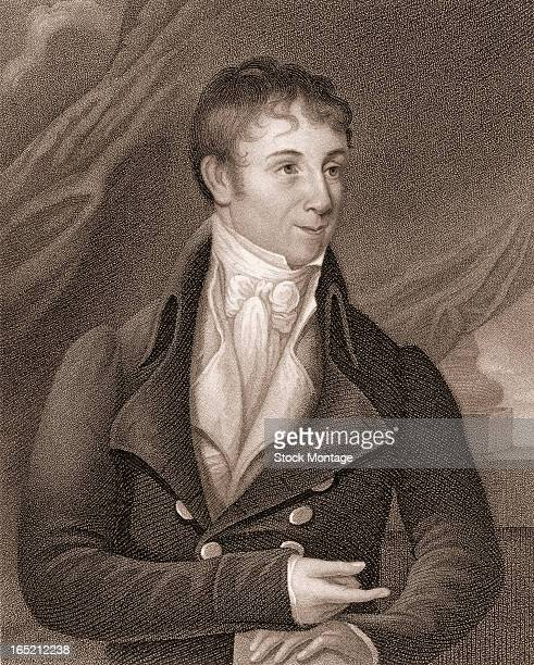 Engraved portrait of American author and historian Charles Brockden Brown early 1800s