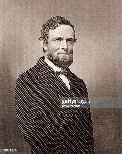 Engraved portrait of American journalist politician and US Vice President Schuyler Colfax mid to late 19th century