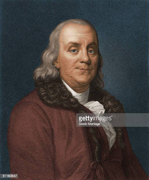 Engraved portrait of American politician scientist and philosopher Benjamin Franklin