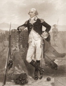 Engraved portrait of American soldier and politician General George Clinton mid to late 18th century Clinton served as a general in the Continental...