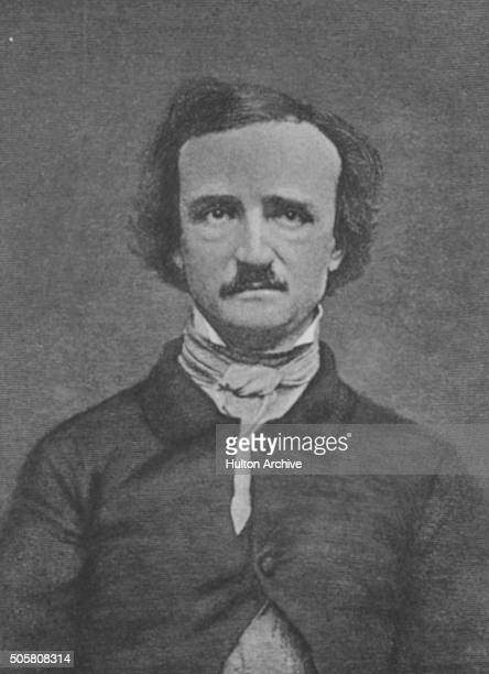 Engraved portrait of American writer Edgar Allan Poe circa 1845