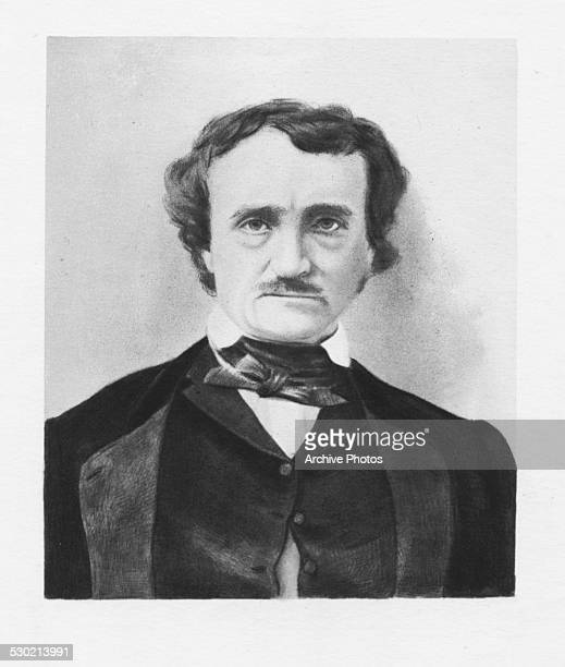 Engraved portrait of author Edgar Allan Poe circa 1830