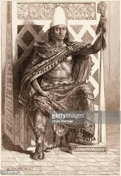 Engraved portrait of Aztec emperor Montezuma II seated on a throne