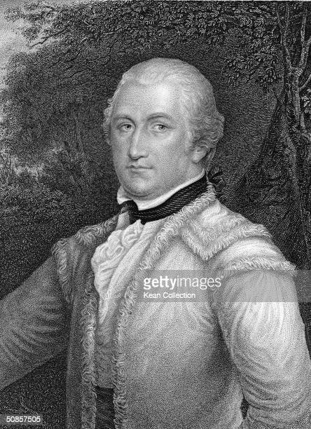 Engraved portrait of Brigadier General Daniel Morgan the victorious American commander at the battles of Saratoga and Cowpens as he wears a wig and a...