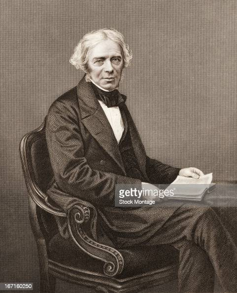 Engraved portrait of British chemist and physicist Michael Faraday mid 19th century