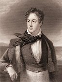 Engraved portrait of British poet George Gordon Byron 6th Baron Byron better known as Lord Byron early 19th century