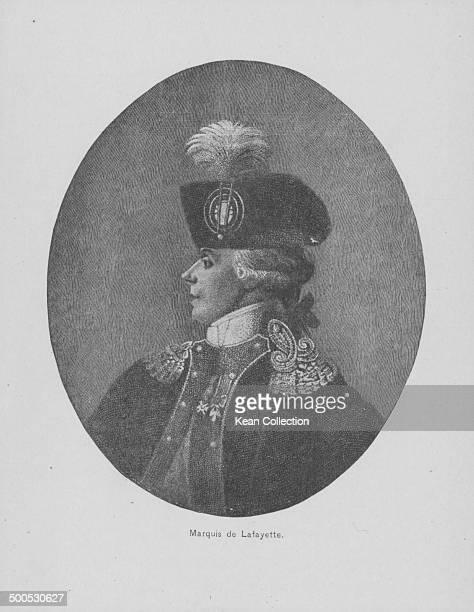 Engraved portrait of French aristocrat the Marquis de Lafayette circa 17801834