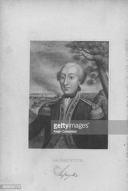 Engraved portrait of French aristocrat the Marquis de Lafayette in military uniform circa 17801834