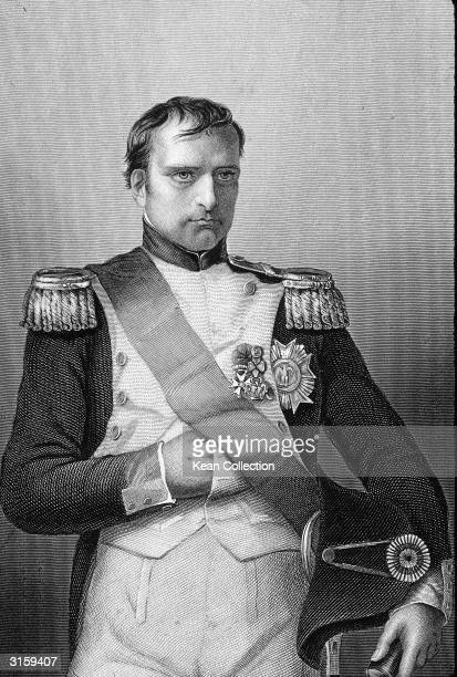 Engraved portrait of French general and emperor Napoleon Bonaparte I in military uniform