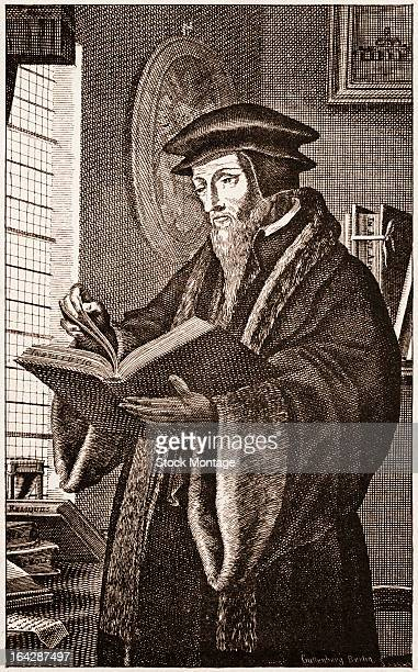Engraved portrait of French theologian and reformer John Calvin as he reads a book