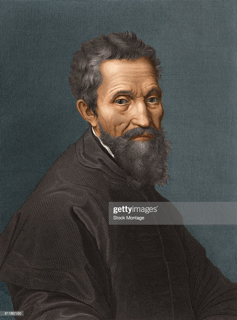 Engraved portrait of Italian sculptor, painter, architect, and poet <a gi-track='captionPersonalityLinkClicked' href=/galleries/search?phrase=Michelangelo+-+Artist&family=editorial&specificpeople=116061 ng-click='$event.stopPropagation()'>Michelangelo</a> (1475 - 1564).