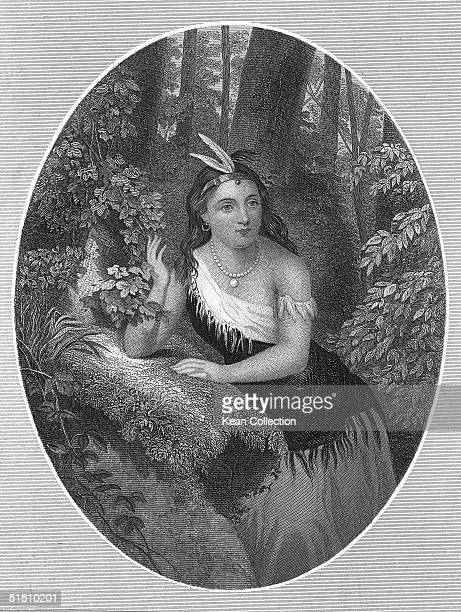 Engraved portrait of Native American Pocahontas of the Powhatan tribe 1610s She wears a shawl feathered headdress and Europeanstyled necklace