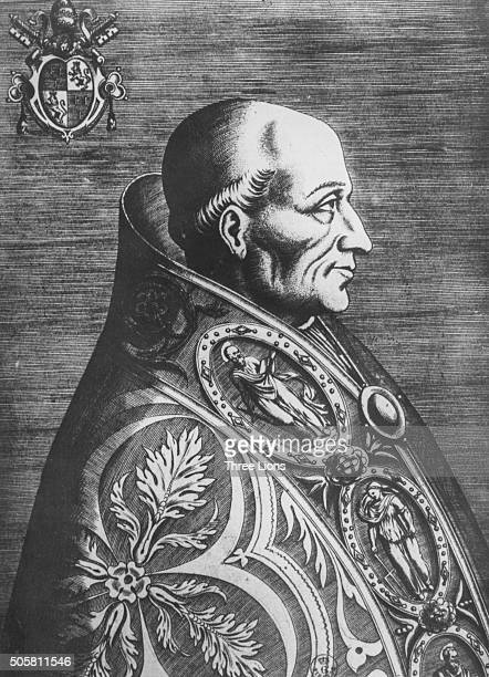 Engraved portrait of Pope Adrian VI circa 1500