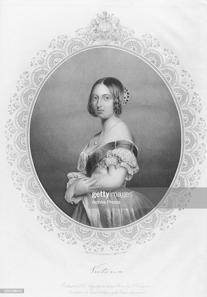 Engraved portrait of Queen Victoria of Great Britain, circa 1850. Engraved by D Pound.