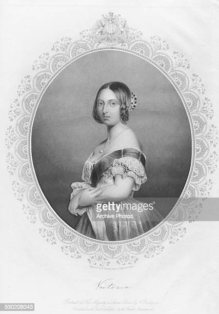 Engraved portrait of Queen Victoria of Great Britain circa 1850 Engraved by D Pound