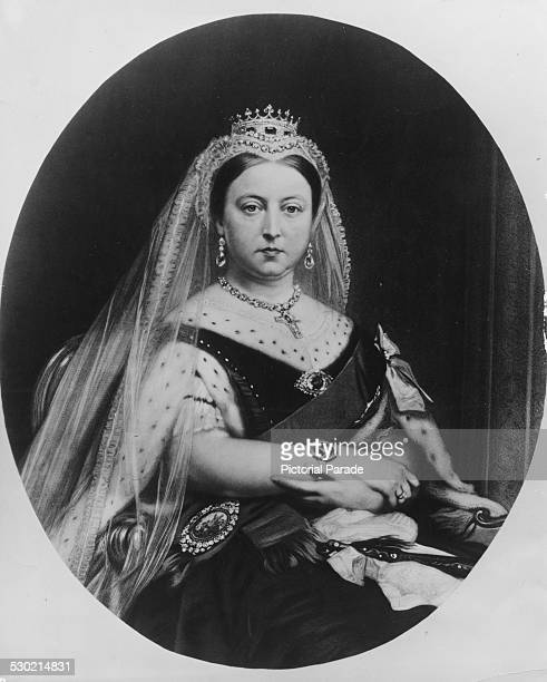 Engraved portrait of Queen Victoria wearing black following the death of her husband from the painting by Lowes Dickinson circa 1861 Engraved by S...