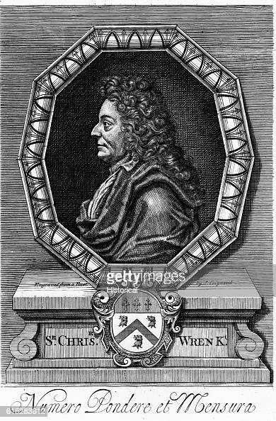 Engraved portrait of Sir Christopher Wren from a bust carved by S Goignand Wren is best known for St Paul's cathedral in London and his plans for...