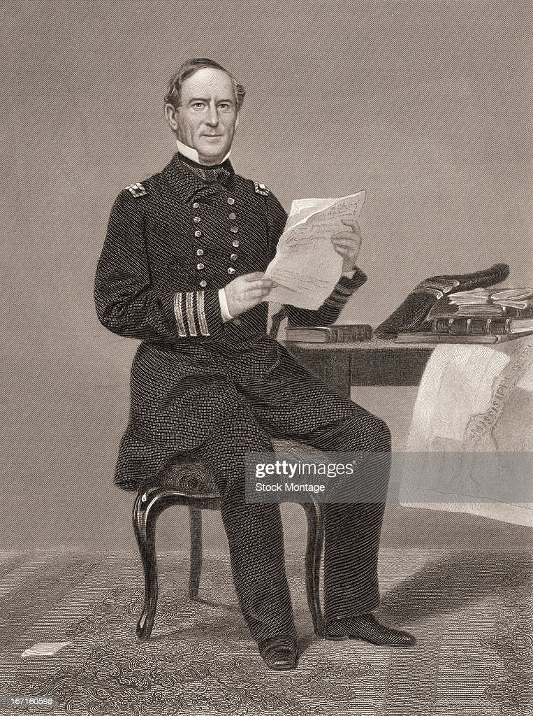 Engraved portrait of United States naval commander David Glasgow Farragut as he sits at a table holding some papers mid 19th century The map hanging...