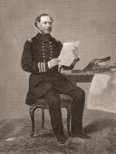 Engraved portrait of United States naval commander David Glasgow Farragut as he sits at a table holding some papers mid to late 19th century The map...