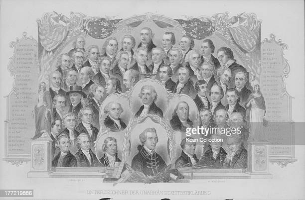 Engraved portraits of the signers of the US Declaration of Independence including John Hancock President of the Continental Congress and two future...