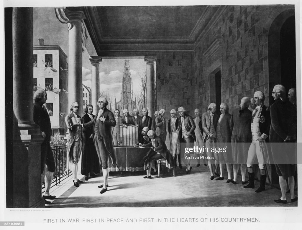 Engraved scene depicting the inauguration of George Washington as the first US President surrounded by witnesses at Federal Hall New York City April...
